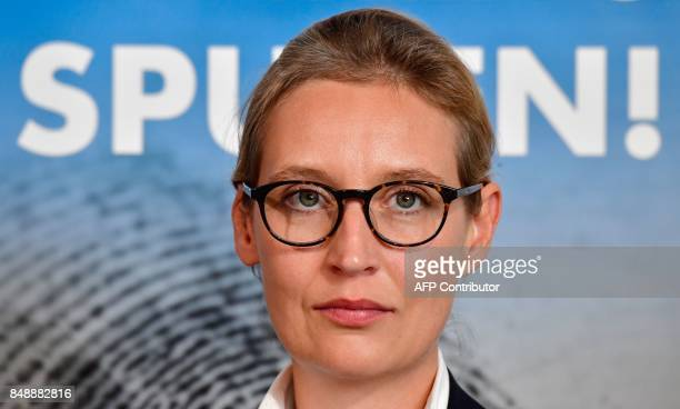 Top candidate of Germany's antiIslam antiimmigration AfD party for upcoming general elections Alice Weidel poses for a picture during a press...