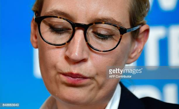 Top candidate of Germany's antiIslam antiimmigration AfD party for upcoming general elections Alice Weidel is pictured during a press conference on...