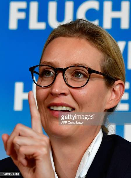 Top candidate of Germany's antiIslam antiimmigration AfD party for upcoming general elections Alice Weidel gestures during a press conference on...