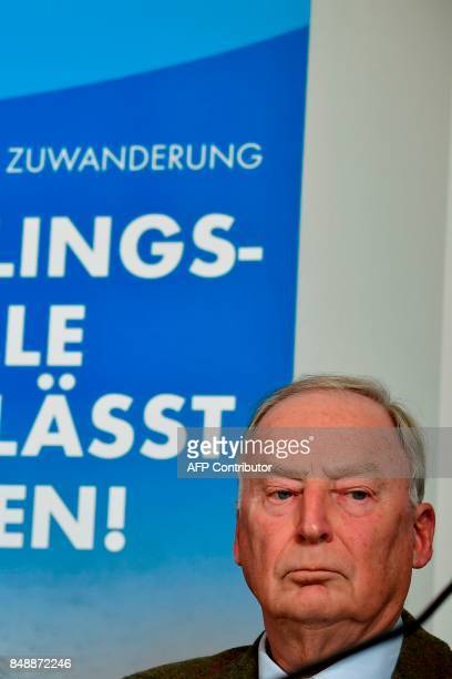 Top candidate of Germany's antiIslam antiimmigration AfD party Alexander Gauland looks on during a press conference about immigration and Islam on...