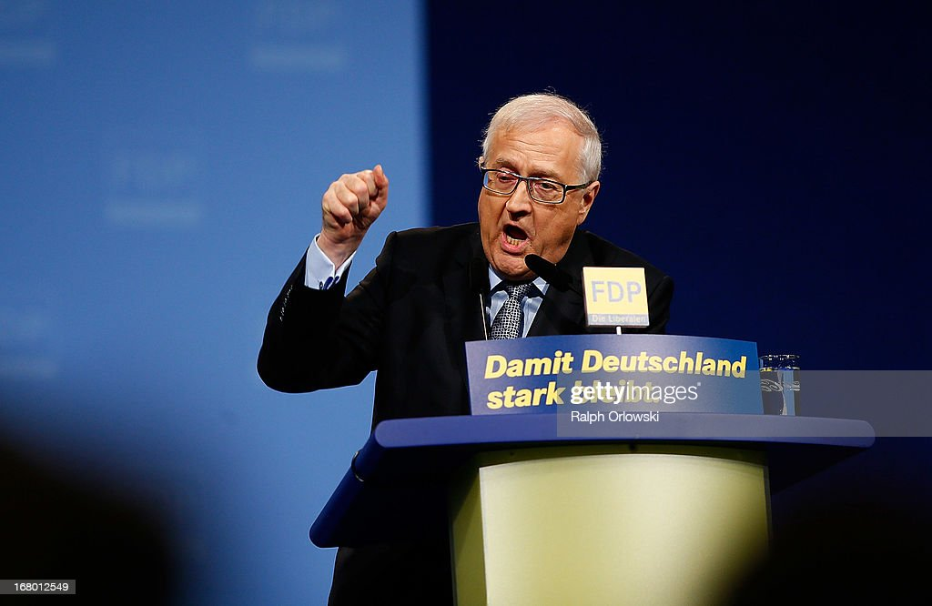 Top candidate Rainer Bruederle (L) of the German Free Democrats (FDP) political party speaks at the FDP federal congress (Bundesparteitag) on May 4, 2013 in Nuremburg, Germany. The FDP is the junior partner in the current German government coalition, though its popularity has faltered in recent years and the party is in danger of not receiving the required minimum of 5% of votes to retain seats in the Bundestag in federal elections scheduled for September.