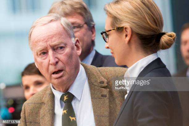 Top candidates of Alternative for Germany Alexander Gauland and Alice Weidel arrive to a press conference on the day after the elections at the...