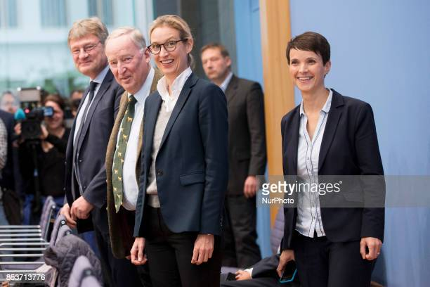 Top candidates of Alternative for Germany Alexander Gauland and Alice Weidel and cochaiman Joerg Meuthen and cochairwoman Frauke Petry arrive to a...