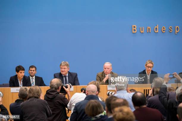 Top candidates of Alternative for Germany Alexander Gauland and Alice Weidel and cochaiman Joerg Meuthen and cochairwoman Frauke Petry are pictured...