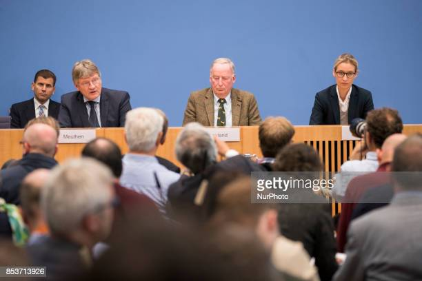 Top candidates of Alternative for Germany Alexander Gauland and Alice Weidel and cochaiman Joerg Meuthen are pictured during a press conference on...