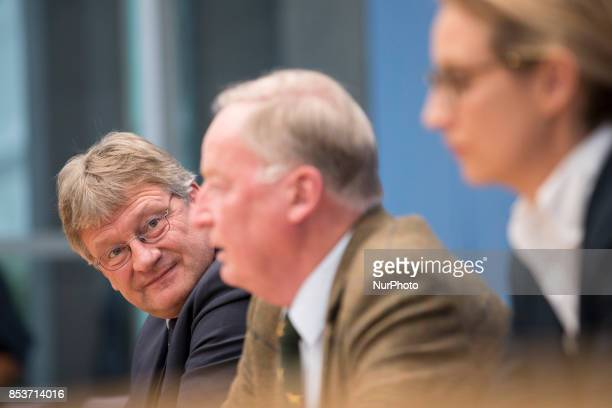 Top candidates of Alternative for Germany Alexander Gauland and Alice Weidel and chaiman Joerg Meuthen are pictured during a press conference on the...