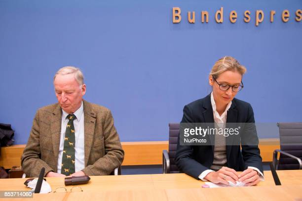 Top candidates of Alternative for Germany Alexander Gauland and Alice Weidel are pictured during a press conference on the day after the elections at...