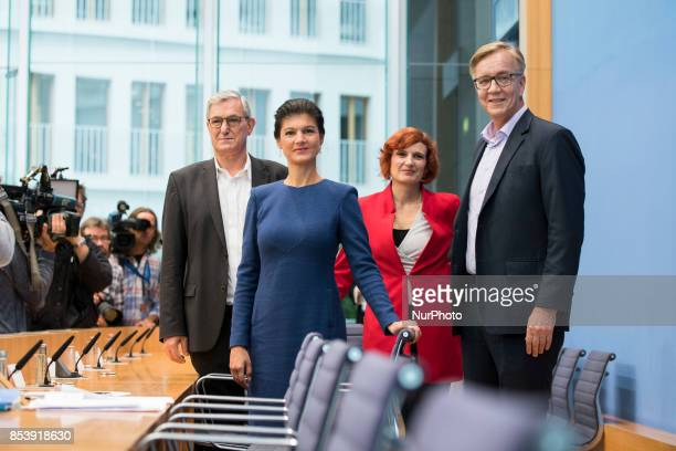 Top candidates of Die Linke party Sahra Wagenknecht and Dietmar Bartsch and CoLeaders Katja Kipping and Bernd Riexinger arrive to a press conference...