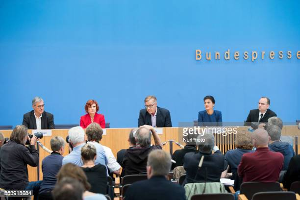 Top candidates of Die Linke party Sahra Wagenknecht and Dietmar Bartsch and CoLeaders Katja Kipping and Bernd Riexinger are pictured during a press...
