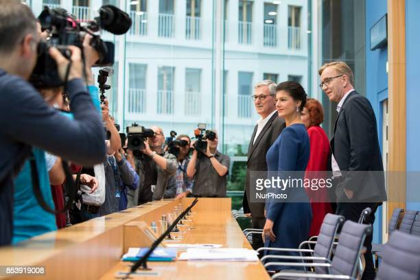 Top candidates of Die Linke party Sahra Wagenknecht and Dietmar Bartsch and CoLeaders Katja Kipping andKatja Kipping arrive to a press conference in...