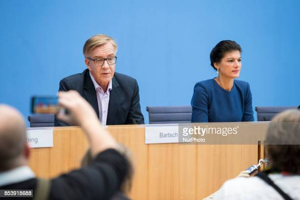 Top candidates of Die Linke party Sahra Wagenknecht and Dietmar Bartsch are pictured during a press conference in Berlin Germany on September 25 2017