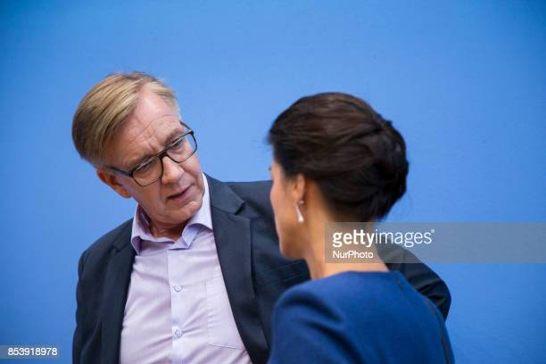 Top candidates of Die Linke party Sahra Wagenknecht and Dietmar Bartsch are pictured at the end of a press conference in Berlin Germany on September...