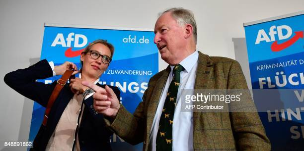 Top candidates of Germany's antiIslam antiimmigration AfD party for upcoming general elections Alice Weidel and Alexander Gauland leave after giving...