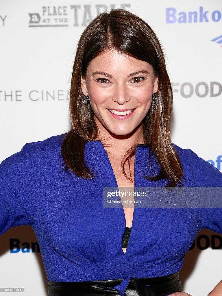 Top Chef host Gail Simmons arrives at Bank of America and Food & Wine with The Cinema Society present a screening of 'A Place at the Table' at the Celeste Bartos Theater at the Museum of Modern Art on February 27, 2013 in New York City.