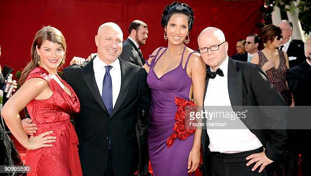 'Top Chef' judges Gail Simmons Tom Colicchio Padma Lakshmi judge Toby Young arrive at the 61st Primetime Emmy Awards held at the Nokia Theatre on...
