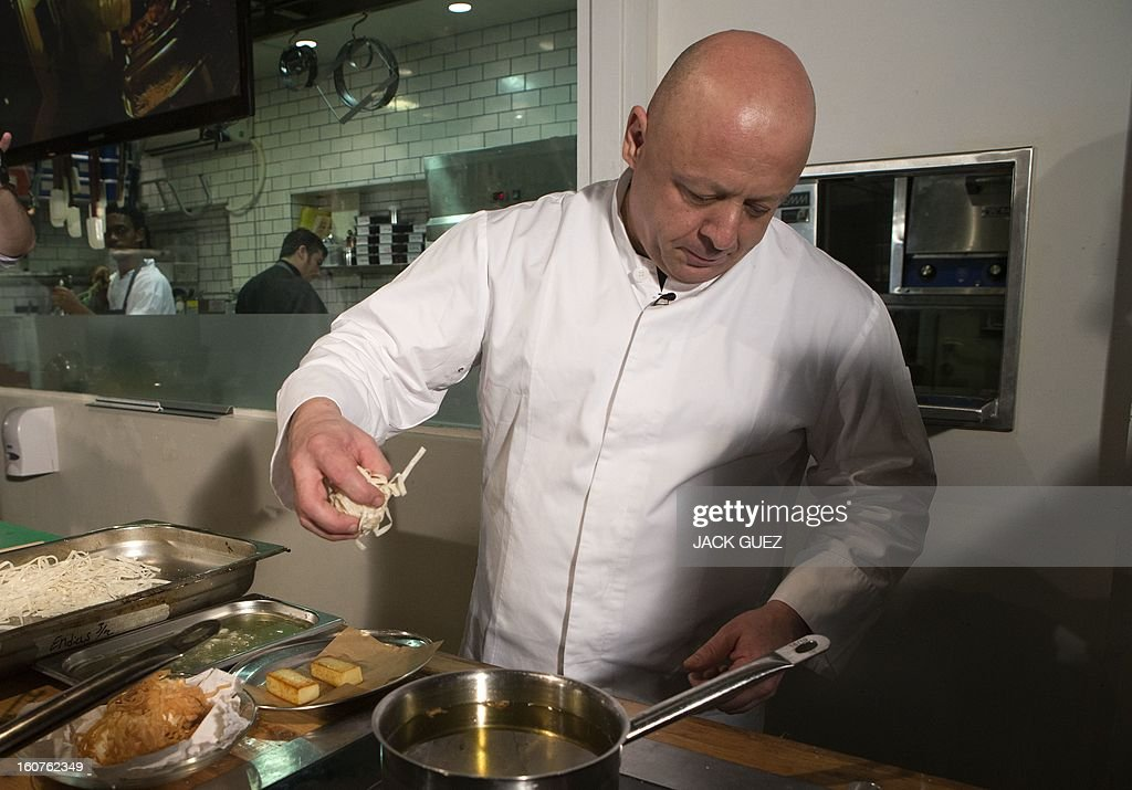 Top chef Thierry Marx hosts a molecular gastronomy workshop on February 5, 2013, at the Kitchen Market Restaurant in the Mediterrannean coastal city of Tel Aviv during the event 'So French, so Good' week of French food.