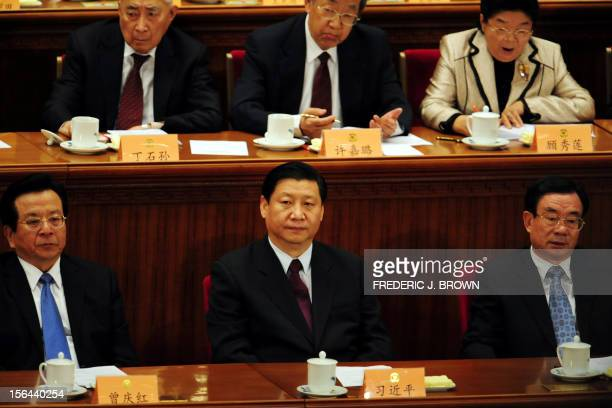 Top Chinese leaders at the opening session of the China People's Political Consultative Conference on March 3 2008 at the Great Hall of the People in...