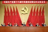 Top Communist Party of China and state leaders Xi Jinping center Li Keqiang third right Zhang Dejiang third left Yu Zhengsheng second right Liu...