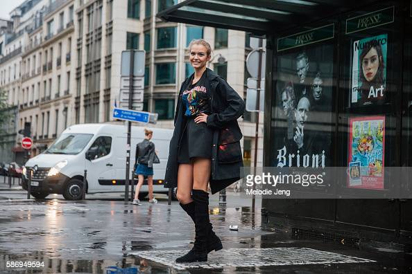 Top Danish model Josephine Skriver wears an all black outfit including an Iron Maiden tshirt a black Faith Connextion reversible handpainted graffiti...