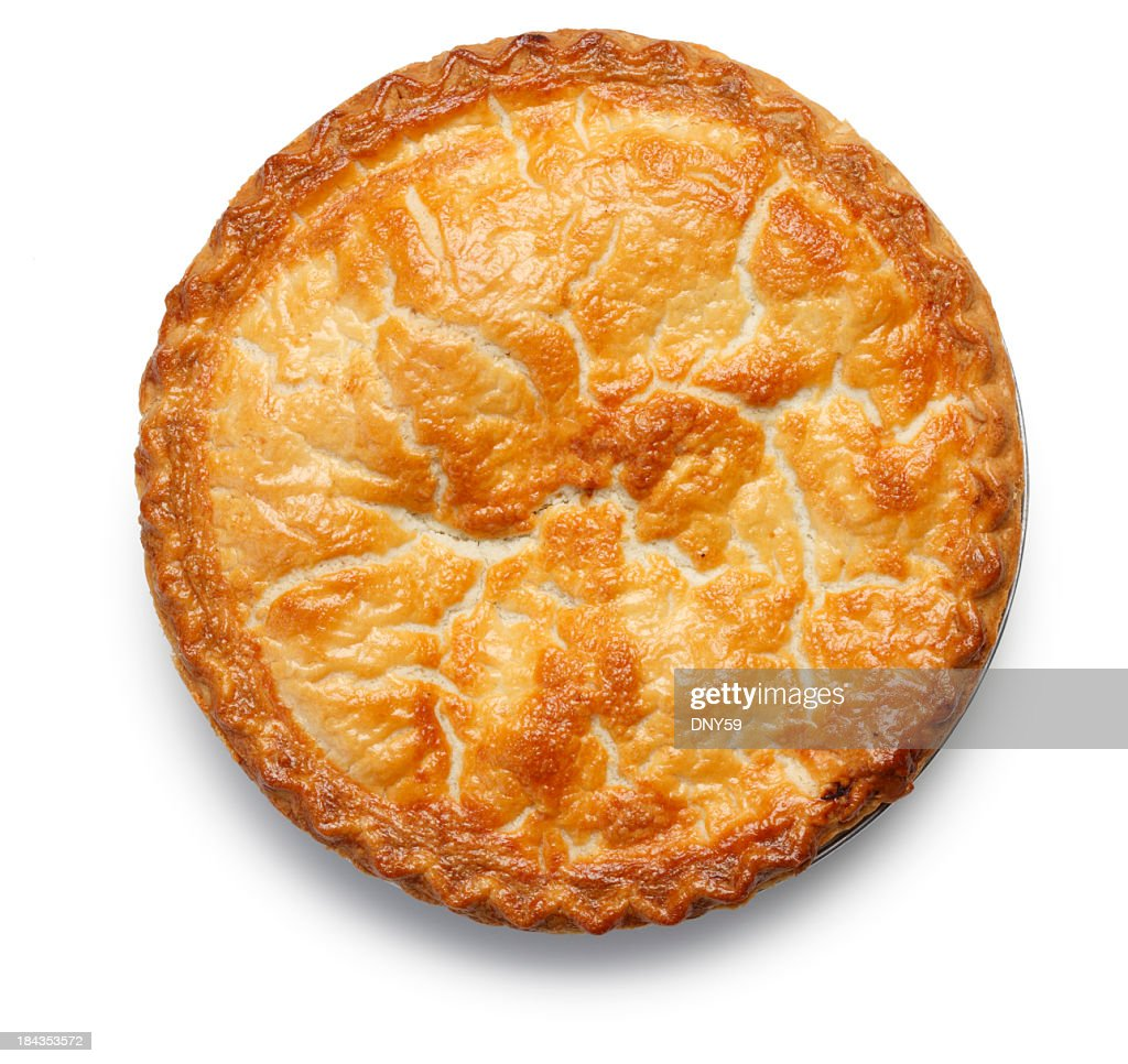 Top down view of apple pie isolated on white background