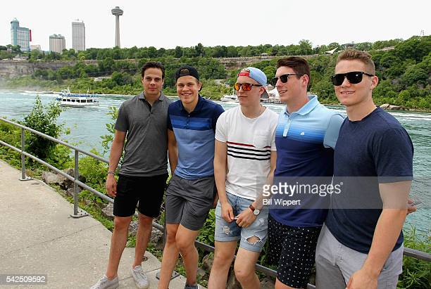 NHL top draft prospects Auston Matthews Patrik Laine Jesse Puljujarvi PierreLuc Dubois and Matthew Tkachuk pose together before riding the Maid of...