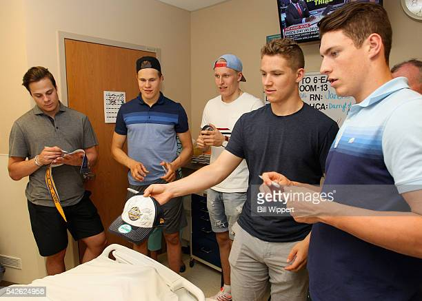 NHL top draft prospects Auston MatthewsJesse Puljujarvi Patrik Laine Matthew Tkachuk and PierreLuc Dubois visit the Roswell Park Cancer Institute as...