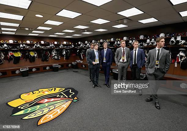 NHL top draft prospects Noah Hanafin Jack Eichel Connor McBride Dylan Strome Mitchell Marner and Lawson Crouse visit the Chicago Blackhawks locker...
