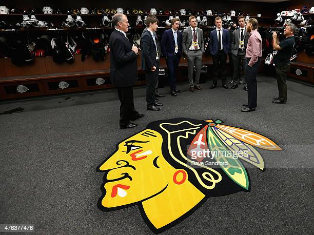 NHL top draft prospects Noah Hanafin Jack Eichel Connor McBride Dylan Strome Mitchell Marner and Lawson Crouse speak to Patrick Kane of the Chicago...