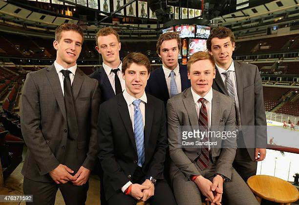 NHL top draft prospects Noah Hanafin Jack Eichel Connor McDavid Dylan Strome Mitchell Marner and Lawson Crouse pose for a picture during media...