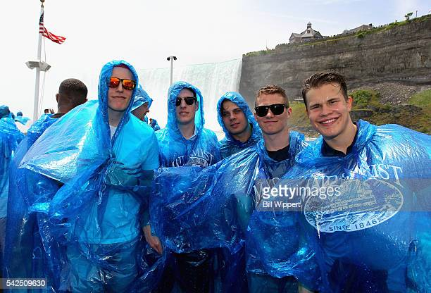 NHL top draft prospects Patrik Laine PierreLuc Dubois Auston Matthews Matthew Tkachuk and Jesse Puljujarvi ride the Maid of the Mist on June 23 2016...