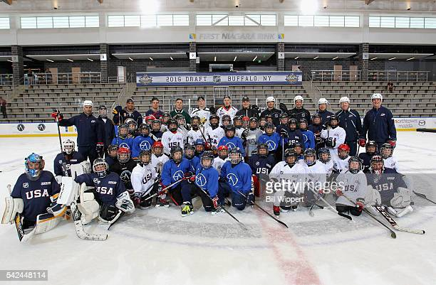 NHL top draft prospects PierreLuc Dubois Auston Matthews Matthew Tkachuk Patrik Laine and Jesse Puljujarvi pose with the group after participating in...