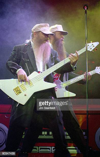 Top Dusty Hill on bass and Billy Gibbons on guitar perform at the St Paul Civic Center in St Paul Minnesota on February 6 1986