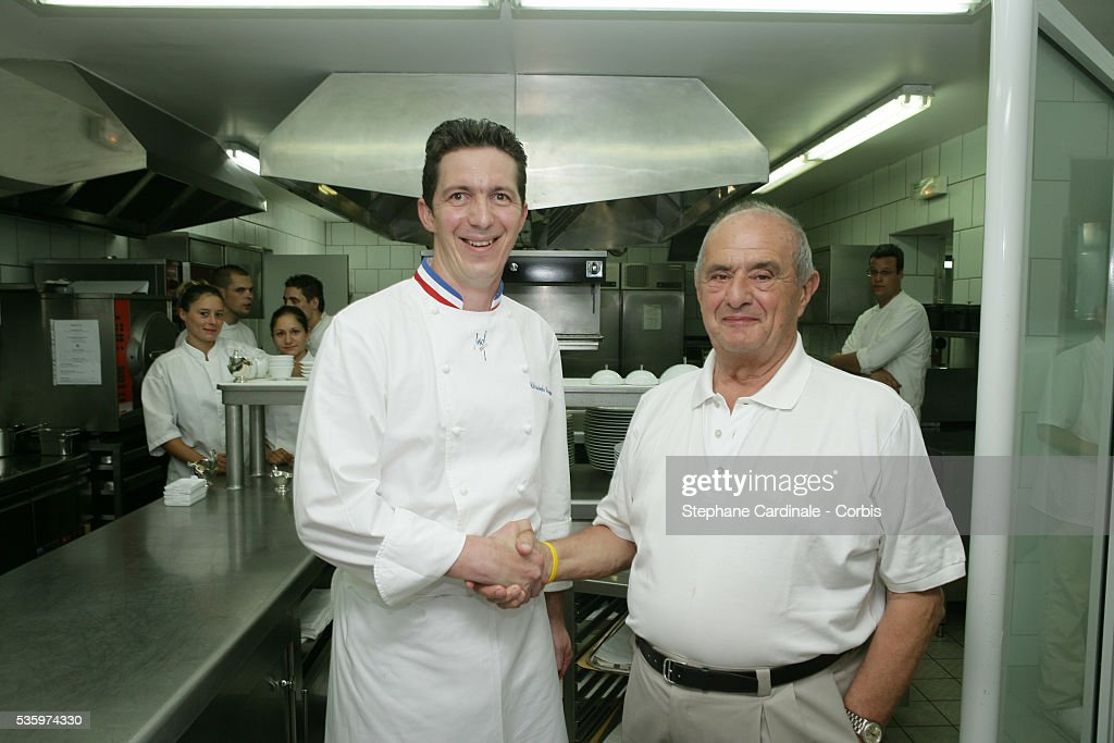 Top French chefs Christophe Bacquie and Paul Bocuse visit 'La Villa' Hotel in Calvi.
