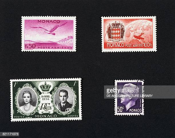 Top from left airmail stamps with Seagull in flight and coat of arms of the Principality of Monaco and Airplane flying over the world bottom from...