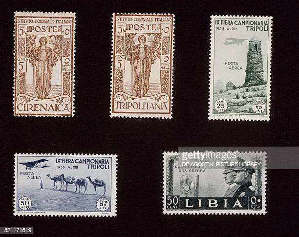 Top from left Colonial Institute issue series Cyrenaica and Tripolitania top right and bottom left postage stamp from the series commemorating the...