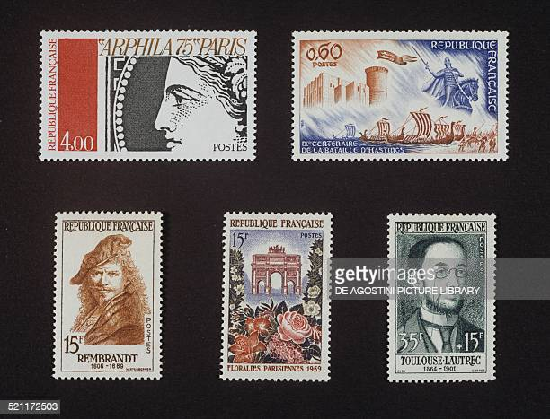 Top from left postage stamp honouring Arphila 75 depicting Ceres 1975 postage stamp commemorating the 9th centenary of the Battle of Hastings 1966...