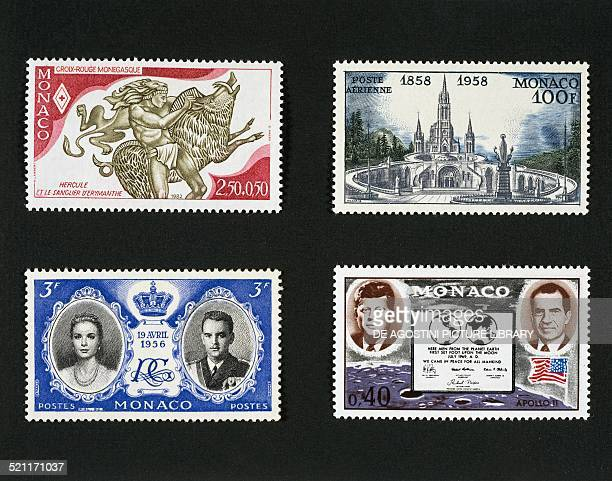 Top from left postage stamp honouring the Red Cross of Monaco depicting Hercules and the boar of Erymanthian postage stamp commemorating the...