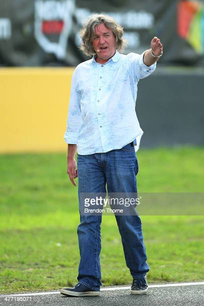 Top Gear presenter James May gestures on track during the 2014 Top Gear Festival Sydney at Sydney Motorsport Park on March 8 2014 in Sydney Australia