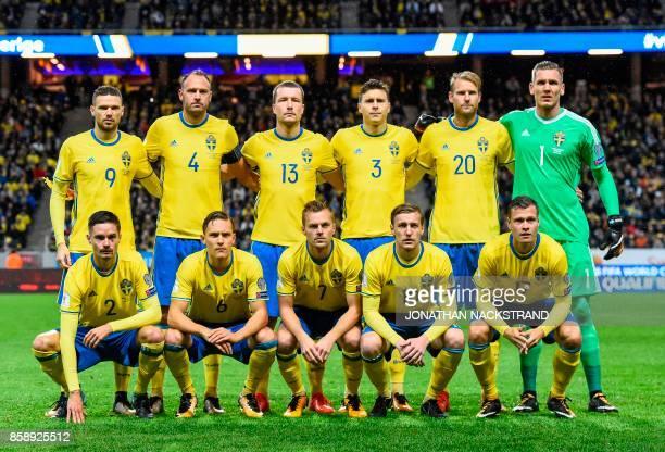 Sweden's forward Marcus Berg defender and team captain Andreas Granqvist midfielder Jakob Johansson defender Victor Lindelof forward Ola Toivonen and...