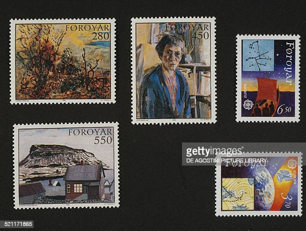Top left and centre and bottom left postage stamps from the series honouring the Local painters The garden by Thomas Arge Selfportrait of Ruth Smith...