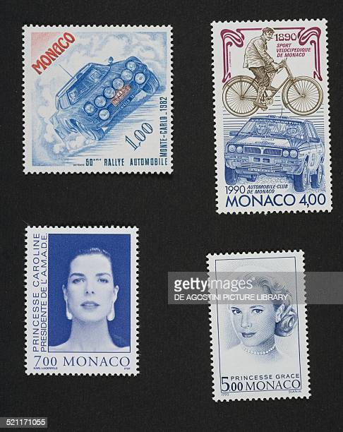 Top lfrom left to right postage stamp commemorating the 50th Monte Carlo Automobile Rally postage stamp commemorating the centenary of the Monaco...