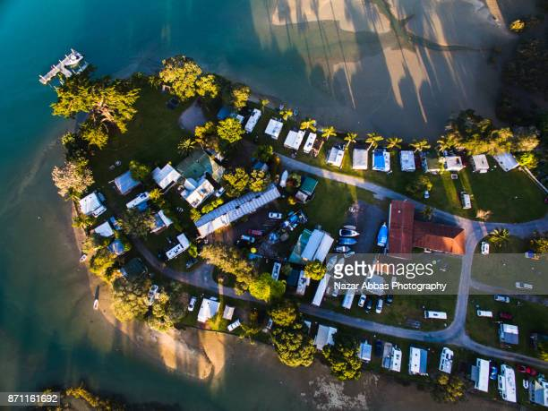 Top looking down at motorhome park, Auckland, New Zealand.