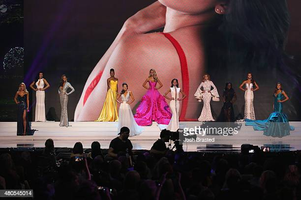 Top Miss USA contestants pose onstage at the 2015 Miss USA Pageant Only On ReelzChannel at The Baton Rouge River Center on July 12 2015 in Baton...