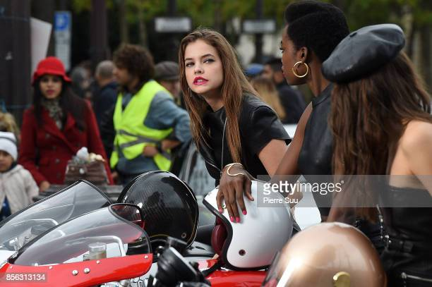 Top Model Barbara Palvin is seen during a photoshoot on the champs Elysees on October 1 2017 in Paris France