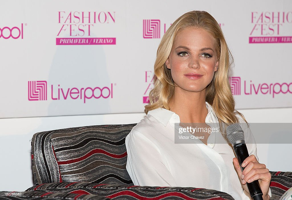 Top model Erin Heatherton attends a press conference during the Liverpool Fashion Fest Spring/Summer 2013 at Liverpool Polanco on February 26, 2013 in Mexico City, Mexico.