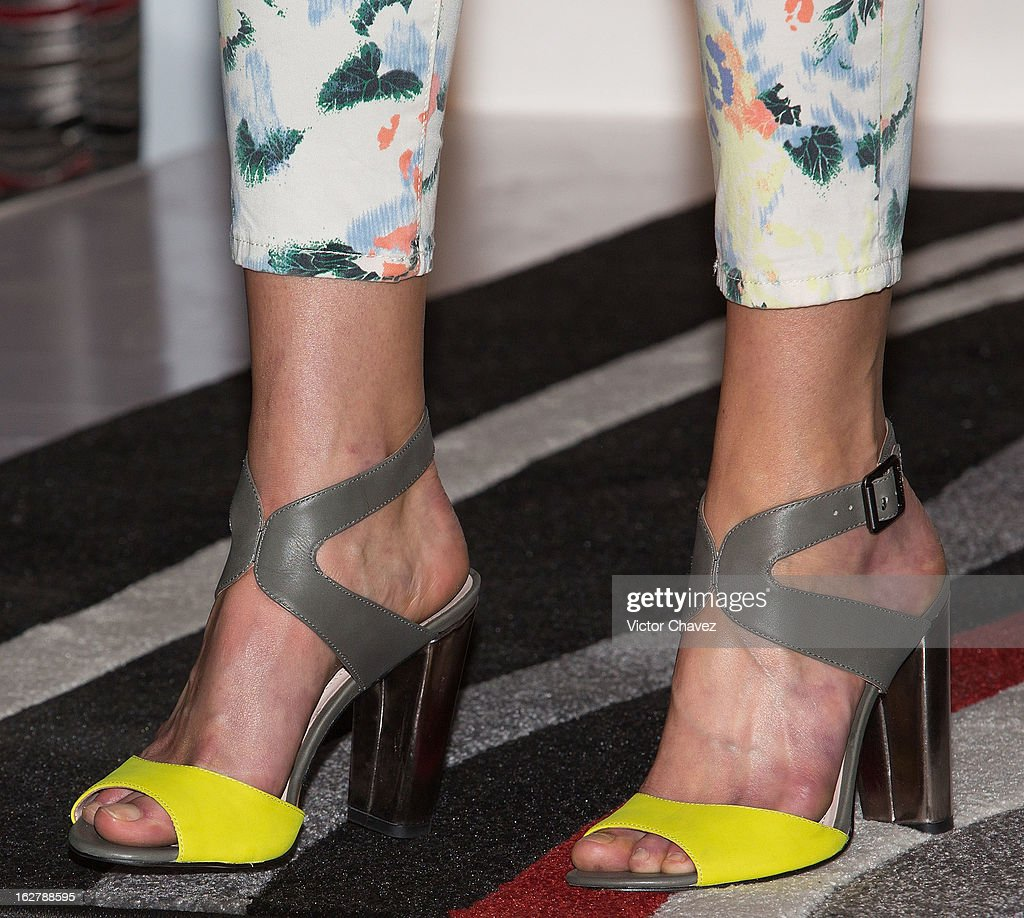 Top model <a gi-track='captionPersonalityLinkClicked' href=/galleries/search?phrase=Erin+Heatherton&family=editorial&specificpeople=5003810 ng-click='$event.stopPropagation()'>Erin Heatherton</a> (shoe detail) attends a press conference during the Liverpool Fashion Fest Spring/Summer 2013 at Liverpool Polanco on February 26, 2013 in Mexico City, Mexico.