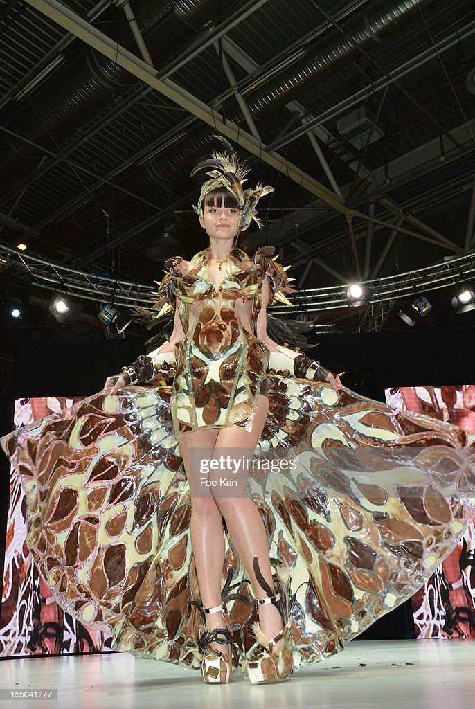 Top model Iulya dressed vy Benjamin Bout and chocolated by Puyricard walks the runway during the Salon du Chocolat 2012 Opening Night at Parc des Expositions Porte de Versailles on October 30, 2012 in Paris, France.