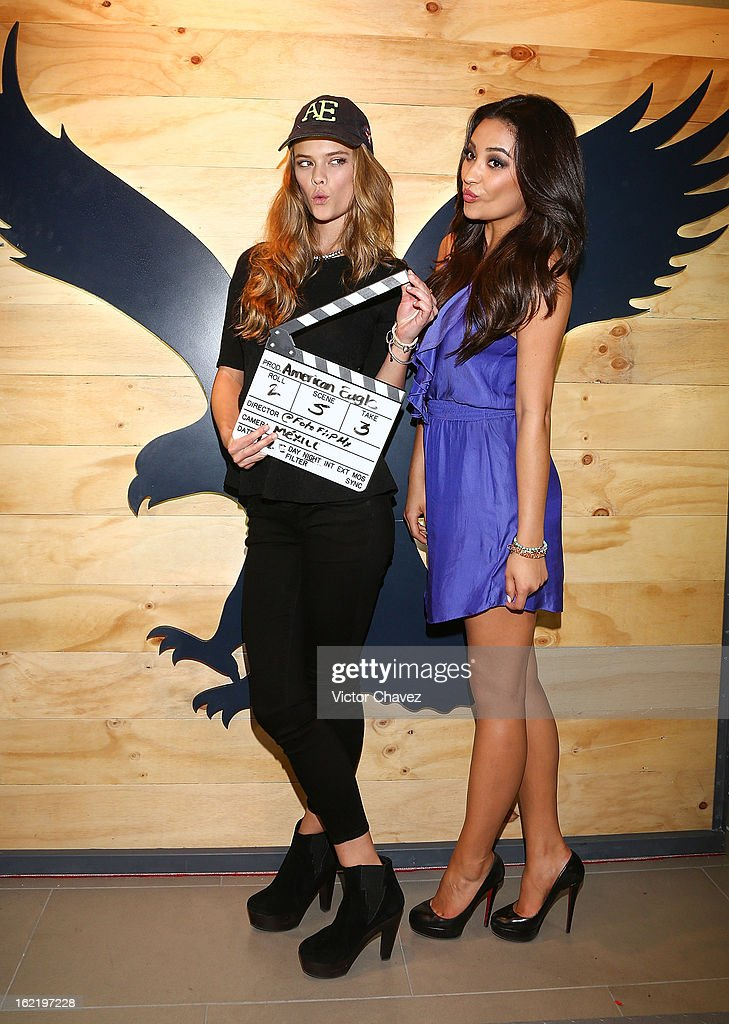 Top model Nina Agdal and actress Shay Mitchell attend the opening of the American Eagle Mexico City store at Centro Comercial Perisur on February 19, 2013 in Mexico City, Mexico.