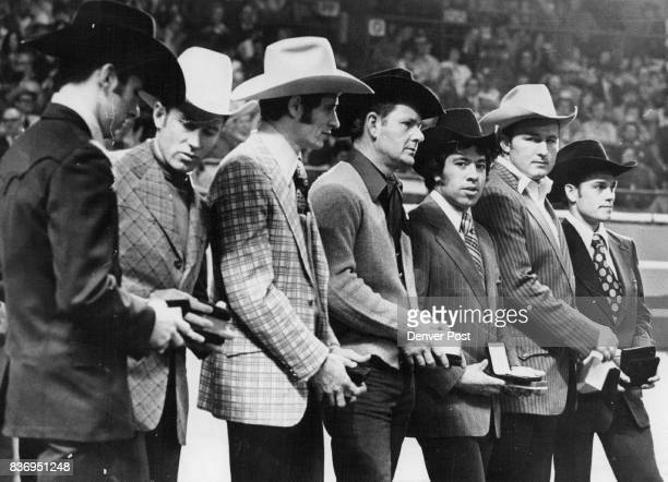 Top Money Winners on Rodeo Circuit Receive Tribute From left are Mel Hyland Joe Alexander John Quintana Wayne Spencer accepting for Roy Duvall Leo...