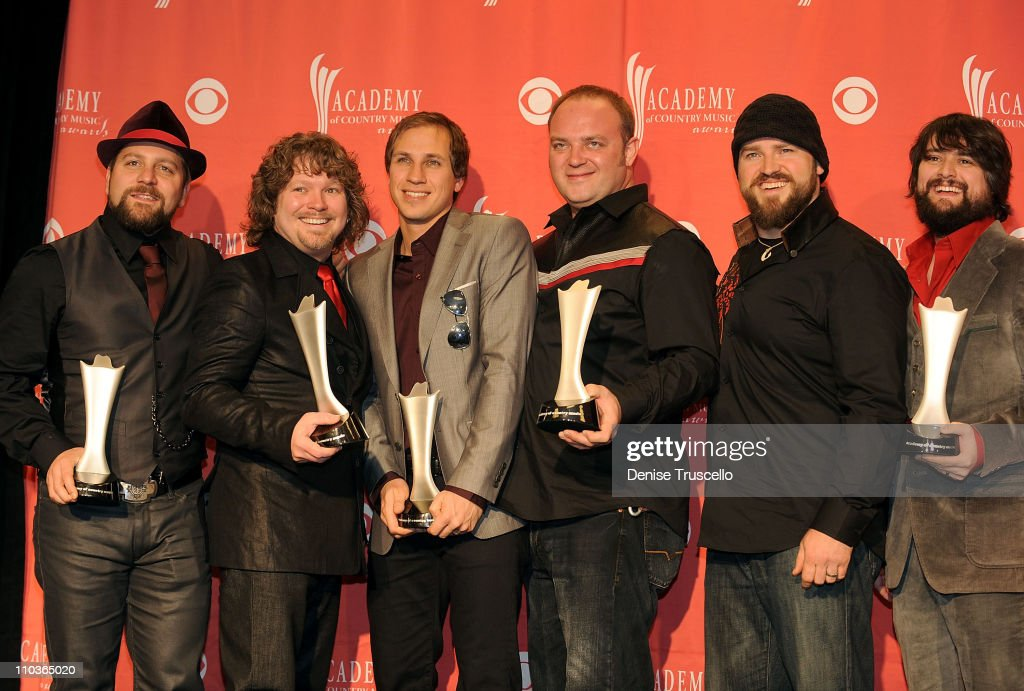 Top New Vocal Duo or Group award winner <a gi-track='captionPersonalityLinkClicked' href=/galleries/search?phrase=Zac+Brown+Band&family=editorial&specificpeople=5796430 ng-click='$event.stopPropagation()'>Zac Brown Band</a> poses in the press room during the 44th annual Academy Of Country Music Awards held at the MGM Grand on April 5, 2009 in Las Vegas, Nevada.